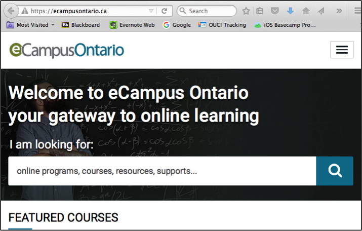 eCampus Ontario Portal screen shot