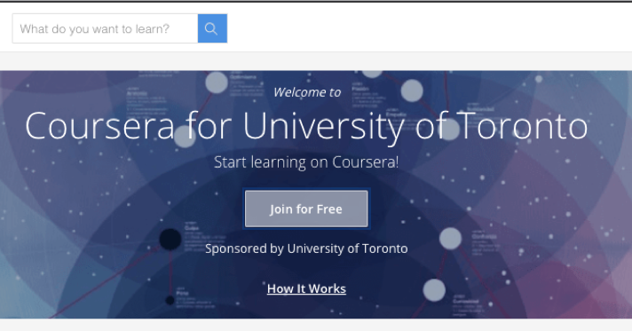 Screen shot of Coursera for U of T